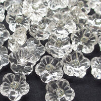 New 50pcs Clear Flower Rhinestone Plastic Buttons 16mm Sewing Craft