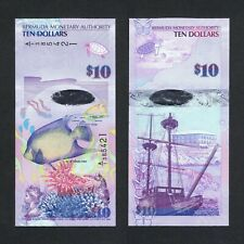 2009/2019 BERMUDA 10 DOLLARS HYBRID P-59b UNC> > > > >BLUE ANGEL FISH A/1 PREFIX