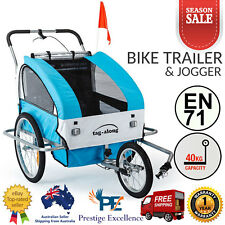 Tag-Along Bike Trailer and Jogger Baby Kids Toddler Multi Use Pram Stroller Blue