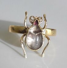 One of a Kind Victorian Rock Crystal 18 Karat Gold Bug Beetle Ring