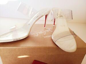 New Christian Louboutin Just Nothing Illusion 85 PVC Heel Slide Sandal Mule 39