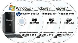 HP Pavilion p6340f Factory Recovery Media 3-Discs / Windows 7 Home 64-bit