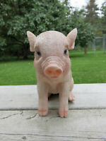 PIG 6 in.H X 7.5 in.L. Spotted Pinkish FIGURINE animal farm piglet resin  new