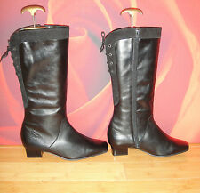 """Superb EQUITY black  leather  suede boots UK 7.5  calf 16"""" *35*"""