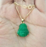 14K Yellow Gold Over Sterling Silver Luck Green Jade Buddha Pendant Necklace