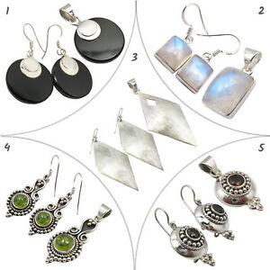 Natural PLAIN Set Earrings Pendants Silver 925 Jewelry 10 ITEMS Assorted Lot NEW