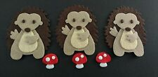 3 handmade hedgehogs and toadstools Embellishments. Felt Die cuts. Card topper.