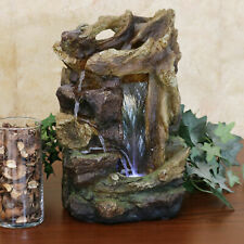 Sunnydaze Rocky Dri'wood Indoor Tabletop Water Fountain Feature with LED - 15""