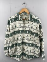 True Grit Men's Vintage Long Sleeve Casual Cycling Shirt Size M Green