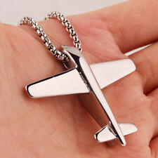 Airplane Model Pendant Necklace Chain Polished Stainless Steel Mens Silver Tone