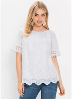 Bodyflirt White Broderie Anglaise Blouse Top Plus Size 28 NEW