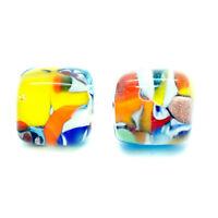 Murano Glass Stud Earrings Multi Coloured Handmade Venice