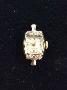 Vintage 14K Yellow Gold Gruen Precision Ladies Watch - Art Deco - Running