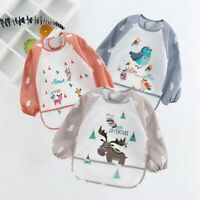AU_ Baby Kids Toddler Long Sleeve Waterproof Art Smock Feeding Bib Apron Pocket