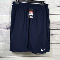 "NWT Nike FLEX Men's Large Navy Blue/Obsidian 11"" Woven Tennis Training Shorts"
