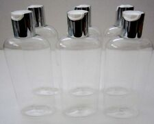 6 oz Qty 6 King PET Plastic Bottles Clear Oval Silver White Disc Cap BPA Free