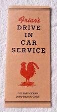 VINTAGE MENU FRIAR'S DRIVE IN CAR SERVICE 701 EAST OCEAN LAGUNA BEACH CA   1941