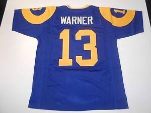 UNSIGNED CUSTOM Sewn Stitched Kurt Warner Blue Jersey - M, L, XL, 2XL, 3XL