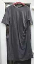 COS GREY TWIST DETAIL GREY COTTON STRETCH STYLE DRESS LARGE APPROX 14