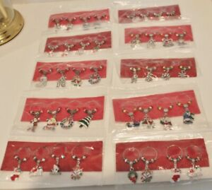 Wine Glass Charms, Drink Markers / Charms - Holiday - Hand Made -Set of 4-Choice