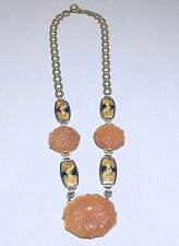 antique chain link necklace Rare Art Deco Carved Carnelian Dragon Enamel