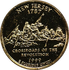 1999-D New Jersey State Quarter Gold Plated Coin