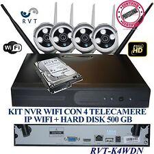 KIT VIDEOSORVEGLIANZA WIRELESS  DVR NVR  4 CANALI 4 TELECAMERA WI FI + HD 500 GB