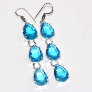 "Blue Topaz 925 Silver Plated Handmade Gemstone Earrings 2.7"" Unique Jewelry GW"