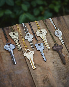 """PERSONALIZED 24"""" Key Necklace - Like The Giving Keys - You Tell Us What To Stamp"""