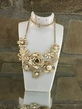 Chunky Gold Plated Faux Pearl Rose Flower Waterfall Necklace