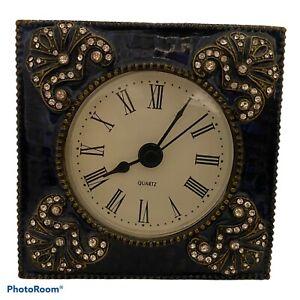 Vintage Enamel On Metal Rhinestone Accent Clock Filigree Brass Magnetic Closure