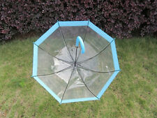 1Pc Clear Wind Water Proof Umbrella DOME Parasol Blue Border