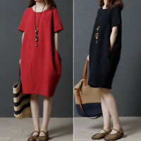 Plus Size Summer Women Cotton Linen Loose Baggy Long Casual Dress With Pocket