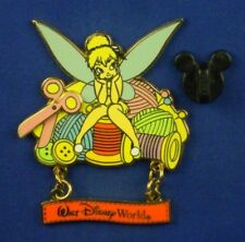 Tinker Bell on Spool of Thread Scissors Needlework WDW Dangle Pin # 51610