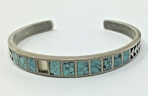"""Vintage Teme Sterling Turquoise Cuff Bracelet 6"""" - 18 Grams (One stone missing)"""