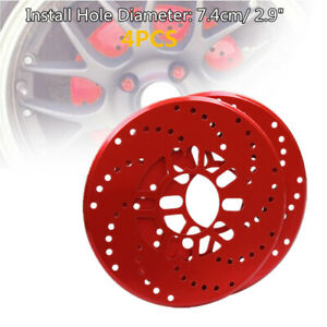 4x Car Aluminum Red Wheel Brake Disc Cover Decorative Rotor Cross Drilled Parts