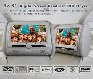 "9"" Excellent Car Digital Monitor Video Headrest DVD Player Game MP4 USB FM IR SD"