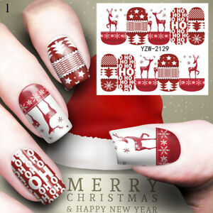 Nail Art Water Decals Stickers Transfers Christmas Snowflake Snowman Elk ^