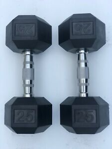 BRAND NEW 5-120LB RUBBER COATED HEX DUMBBELLS WEIGHTS FOR COMMERCIAL GYM PAIRS!
