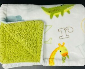 Little Miracles Baby Blanket Elephants Giraffes Alligators Letters Green Costco