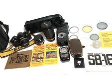 [Near Mint] Nikon FE2 35mm Black + Nikkor 50mm 1.8, 28mm 2.8, 35-200mm SB-16 Kit