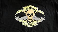 "US Navy Submarine Dolphin Black Cotton ""Jolly Roger"" T-Shirt L Free Shipping!"