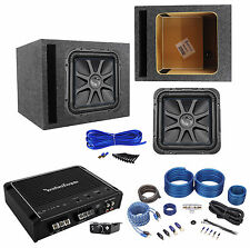"Kicker L7S124 12"" Solo Baric L7S Car Subwoofer+Amplifier+Amp Kit+Vented Sub Box"