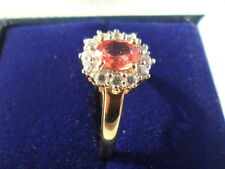 9K BEAUTIFUL RARE PADPARADSCHA SAPPHIRE & ZIRCON RING CERT OF AUTHENTICITY ~ N*
