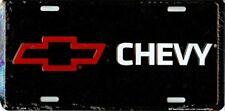 Chevy Red BowTie Black License Plate Metal Embossed Chevrolet Camaro Nova Impala