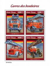 Guinea-Bissau - 2019 Fire Engines on Stamps - 4 Stamp Sheet - GB190502a