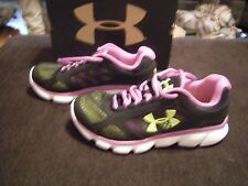Brand New Girls Black, Purple & Yellow Under Armour Tennis Shoes, Size 4.5