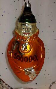 Vintage Blown Glass German Inflation Clown 500000 Figural Tree Ornament