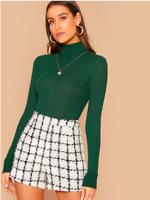 Green Turtle Neck Rib Knit Solid Pullover Basic Slim Fit T-Shirt Top Sz XS S M L