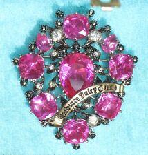 Nib Juicy Couture Large Pink/Fuschia Crystal Hardcore Juicy Glam Brooch/Pin